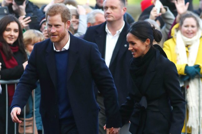 Prince Harry (L) and Meghan Markle visit Cardiff Castle in Cardiff, Wales, on Thursday. Photo by Neil Hall/EPA-EFE