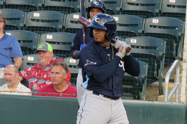 Tampa Bay Rays shortstop prospect Wander Franco, shown June 27, 2019, has batted .315 with seven home runs and 35 RBIs over 39 games for Triple-A Durham this season. Photo courtesy of Bryan Green/Wikimedia Commons