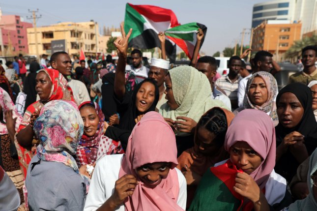 Sudanese citizens celebrate in the streets of Khartoum, Sudan, on July 5, 2019, after the military council reached an agreement with opposition leaders to share power in the new government. Monday, the government agreed to a peace proposal with several rebel factions to end decades of fighting. File Photo by Marwan Ali/EPA-EFE