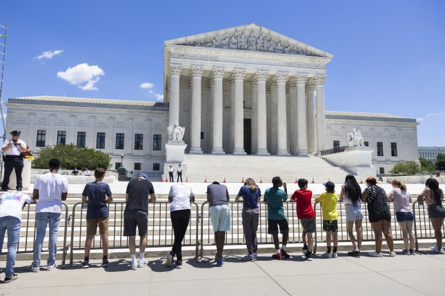Anti-abortion protestors gather outside the Supreme Court in Washington, D.C., on June 23, 2021. The high court will soon hear a Mississippi case that challenges abortion rights. File Photo by Jim Lo Scalzo/EPA-EFE