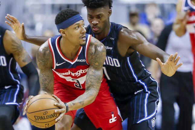 Bradley Beal (3) and the Washington Wizards haven't played since Jan. 11, due to the NBA's COVID-19 protocols for the 2020-21 season. File Photo by Erik S. Lesser/EPA-EFE