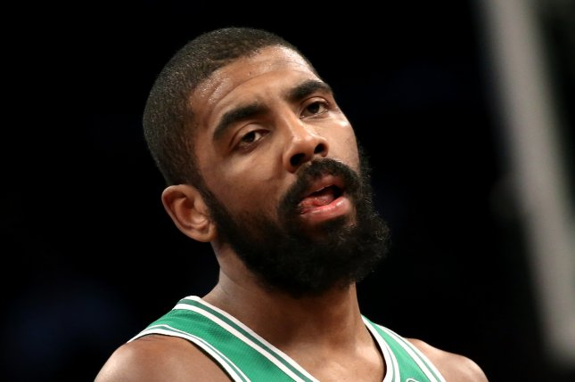 Boston Celtic guard Kyrie Irving had several sensational finishes early on and led his team with 30 points in a win against the Oklahoma City Thunder on Sunday in Boston. Photo by Peter Foley/EPA-EFE