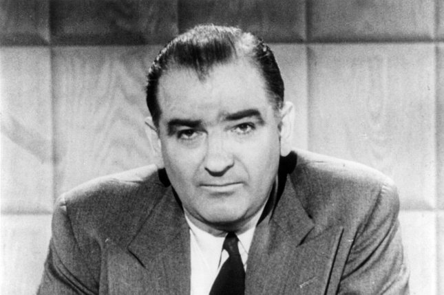 Portrait of U.S. Sen. Joseph R. McCarthy, R-Wis., taken in 1954. McCarthy charged the U.S. State Department was infested with communists, touching off the infamous McCarthy era on February 9, 1950. File Photo/UPI
