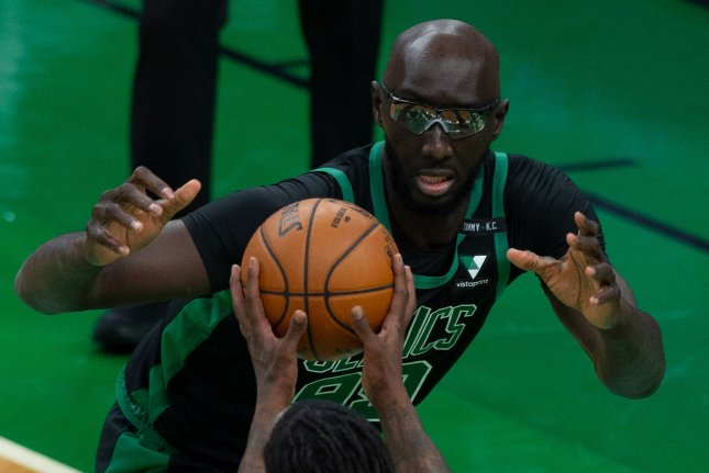 Former Boston Celtics center Tacko Fall, who signed with the Cleveland Cavaliers on Tuesday, joins two other 7-foot centers on the team's roster. Photo by C.J. Gunther/EPA-EFE