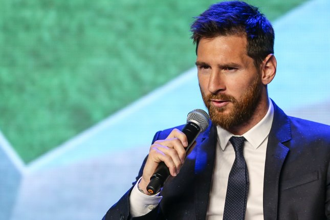 FC Barcelona's Argentinian striker Lionel Messi during a news conference on Thursday in Beijing, China. Messi arrived in China to attend an event related to the Messi Experience Park. The park is to be built in Nanjing and will be the largest theme park in the world dedicated to soccer. Photo by Roman Pilpey/EPA