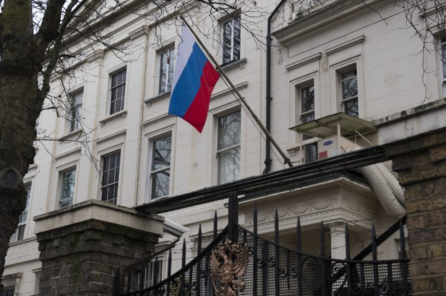 The Russian Embassy in London, where Moscow 23 diplomats were expelled Tuesday following a nerve agent attack on an ex-Russian double agent. File photo by Will Oliver/EPA-EFE