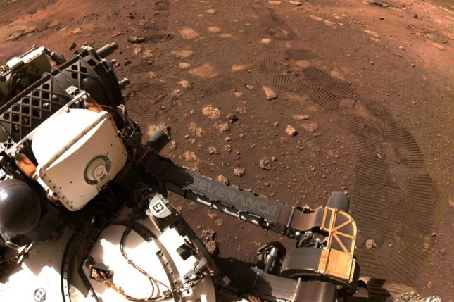 This image was taken during the first drive of NASA's Perseverance rover Thursday as engineers checked out the rover's systems following its landing in Jezero Crater on February 18. Photo courtesy of NASA