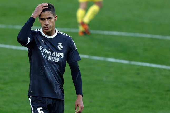 Real Madrid starting defenders Raphael Varane (pictured), Sergio Ramos and Dani Carvajal will miss the team's Champions League quarterfinal matchup with Liverpool on Tuesday in Madrid. Photo by Domenech Castello/EPA-EFE