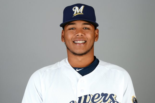 Freddy Peralta of the Milwaukee Brewers poses during photo day on February 22 at Maryvale Baseball Park in Phoenix. Photo by Dave Durochik/MLB Photos via Getty Images