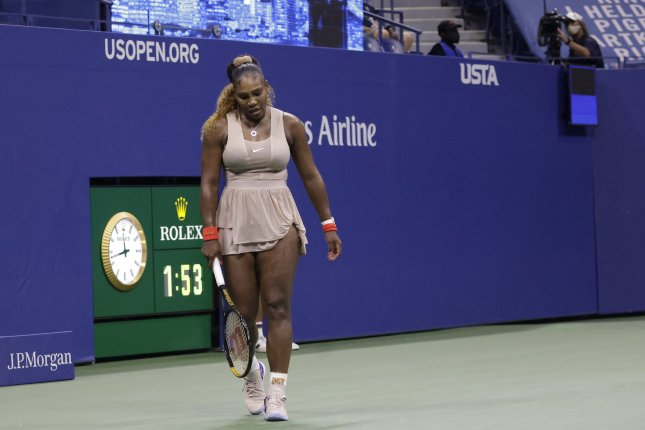 Serena Williams (pictured) sustained an Achilles injury during her three-set loss to Victoria Azarenka in the 2020 U.S. Open semifinals Thursday in Queens, N.Y. Photo by Jason Szenes/EPA-EFE