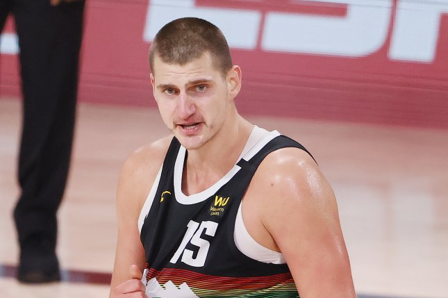 Denver Nuggets center Nikola Jokic, shown Sept. 1, 2020, averaged 26.4 points, 10.8 rebounds and 8.3 assists this season. He is the heavy favorite to win this year's MVP award. File Photo by Erik S. Lesser/EPA-EFE