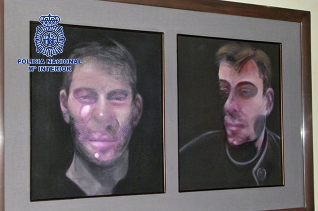 A handout photo made available by by the Spanish National Police on May 28, 2016, of one of five artworks by Irish-born British painter Francis Bacon robbed in July 2015 from a home in Madrid, Spain. Photo courtesy Spanish National Police
