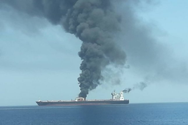 A Norwegian oil tanker is seen on fire Thursday in the Gulf of Oman. Photo by IRIB News/EPA-EFE