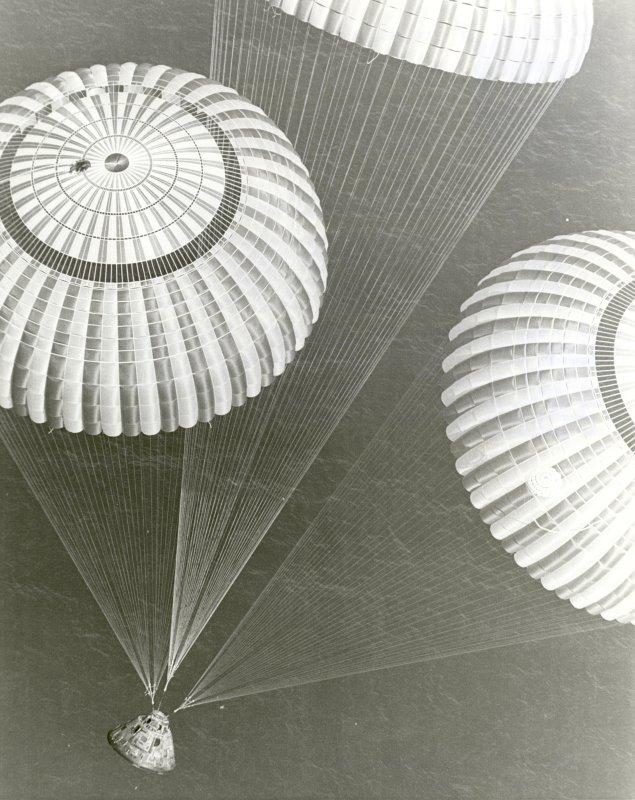 The Apollo 17 spacecraft, containing astronauts Eugene A. Cernan, Ronald E. Evans, and Harrison H. Schmitt, glided to a safe splashdown on December 19, 1972. File Photo by NASA/UPI