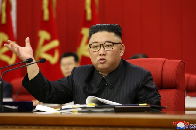 North Korean leader Kim Jong Un led the third plenary meeting of the Workers' Party's Eighth Central Committee Tuesday and addressed the growing food crisis in the country, according to state media. Photo by KCNA/EPA-EFE