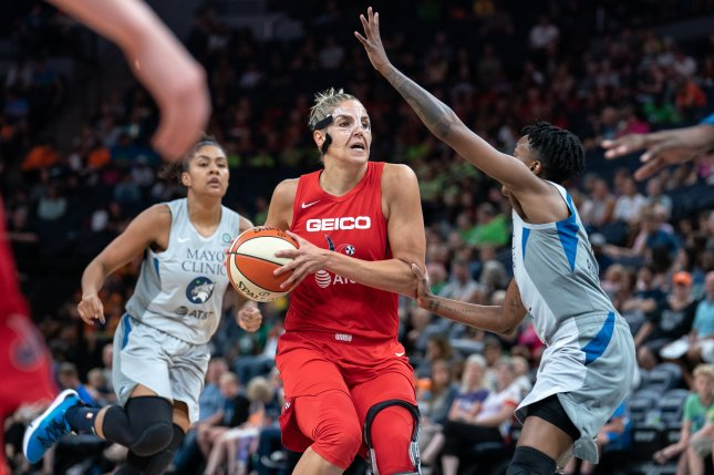 Washington Mystics star Elena Delle Donne (C) and other WNBA players must let the league know by June 25 if they plan to be a part of the 2020 season. Photo courtesy Lorie Shaull/Wikimedia Commons/UPI