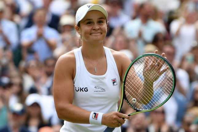 Ash Barty of Australia (pictured) faces Karolina Pliskova of the Czech Republic in the Wimbledon 2021 women's singles final at 9 a.m. EDT Saturday in London. Photo by Neil Hall/EPA-EFE