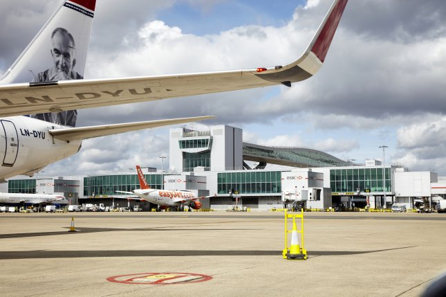 All flights departing and arriving at Gatwick Airport in London were suspended for several hours through Thursday morning because of drone sightings nearby. File photo courtesy Gatwick Airport