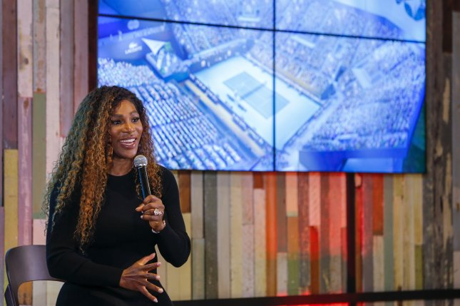 Tennis star Serena Williams speaks at the Miami Dolphins' Hard Rock Stadium during the groundbreaking ceremony for the future site of the Miami Open tennis tournament. Photo by Erik S. Lesser/EPA-EFE