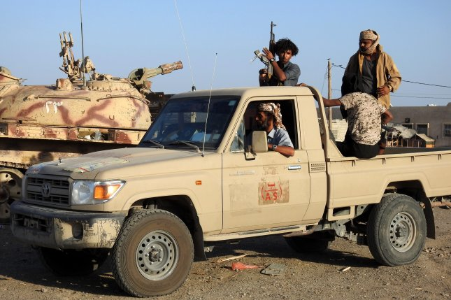 Government soldiers ride in a truck in the port city of Hodeidah, Yemen, on January 4, 2019. The civil war has been going in Yemen since March of 2015. File Photo by Najeeb Almahboobi/EPA-EFE