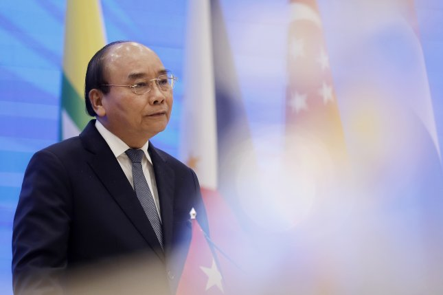 Vietnamese Prime Minister Nguyen Xuan Phuc addressed regional leaders of the Association of Southeast Asian Nations during a virtual summit on Friday. Photo by Luong Thai Linh/EPA-EFE