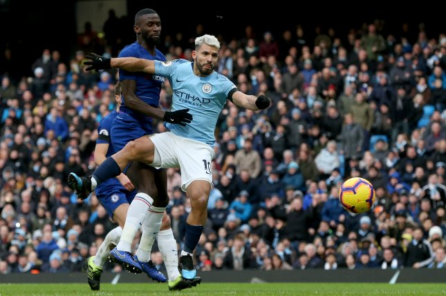 Manchester City's Sergio Aguero is now tied with Alan Shearer for the most hat tricks in Premier League history after scoring three times against Chelsea on Sunday in Manchester, England. Photo by Nigel Roddis/EPA-EFE