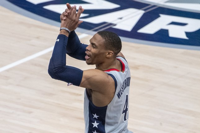 Washington Wizards guards Russell Westbrook (pictured) and Bradley Beal sparked a dominant NBA Play-In Tournament win over the Indiana Pacers on Thursday at Capital One Arena in Washington, D.C. Photo by Shawn Thew/EPA-EFE