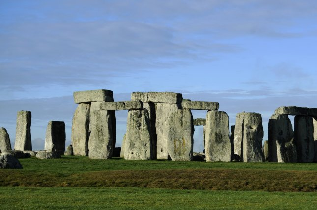 A view at Stonehenge, the 5,000 year old stone circle, near Amesbury, Britain, in 2013. Researchers now think the stones may have been moved into place on sledges greased with pig lard. File Photo by Facundo Arrizabalaga/EPA-EFE