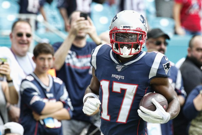 Antonio Brown had four catches for 56 yards and a touchdown in one game last season for the New England Patriots. File Photo by Rhona Wise/EPA-EFE