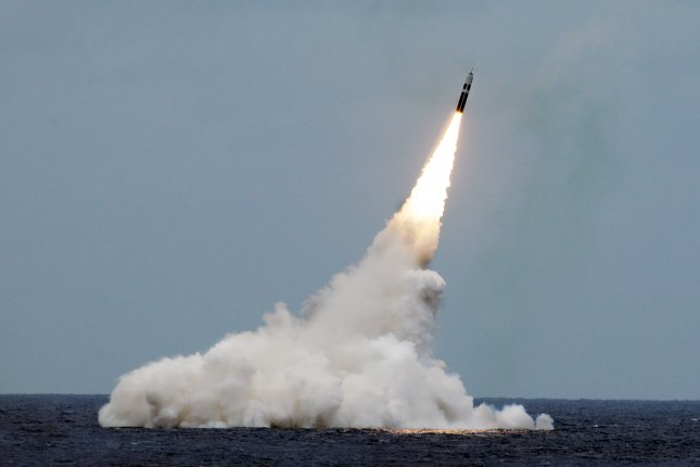 An unarmed Trident II D5 missile launches from the Ohio-class fleet ballistic-missile submarine USS Maryland off the coast of Florida in this 2016 photo. The Pentagon announced Thursday that it has awarded$601.3 million to Lockheed Martin for upgrades on the missiles. Photo byJohn Kowalski/U.S. Navy