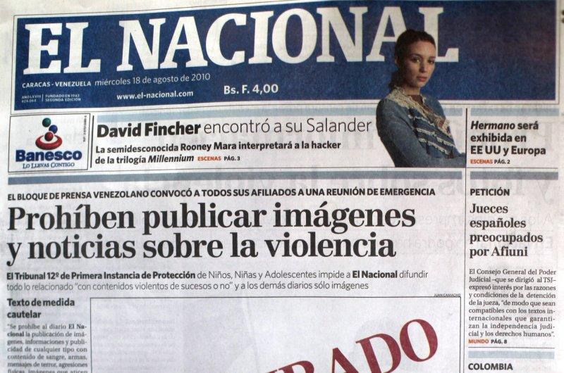 Venezuelan newspaper El Nacional stopped its print edition Friday, which its director blamed on Venezuelan President Nicolas Maduro's censorship actions. Photo by David Fernandez/EPA-EFE