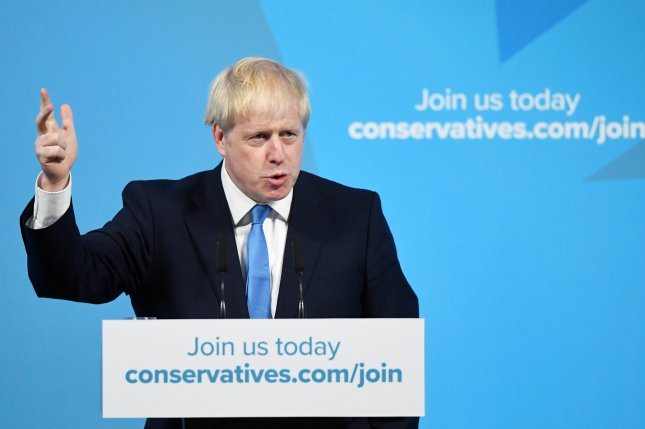 Boris Johnson holds his acceptance speech after he is announced as the new Conservative party leader at an event in London on July 23, 2019. Photo by Neil Hall/EPA-EFE