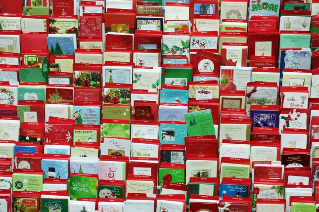Greeting cards on display in a store. A campaign on Reddit is seeking to have hundreds of Christmas cards sent to 10-year-old Aron Anderson, the only child living on the island of Out Skerries, Scotland. Photo by Niloo/Shutterstock.com