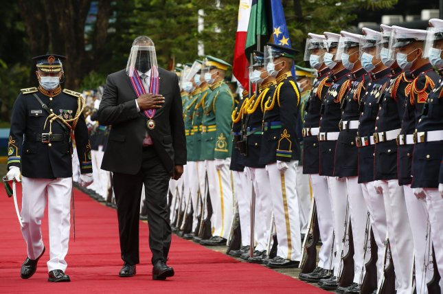 U.S. Secretary of Defense Lloyd Austin (2-L) said Philippine President Rodrigo Duterte agreed to restore the Visiting Forces Agreement during a meeting with officials in Manila on Friday. Photo by Rolex Dela Pena/EPA-EFE