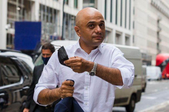 British health secretary Sajid Javid arrives at the Department of Health and Social Care in London on June 28. File photo by Vickie Flores/EPA-EFE