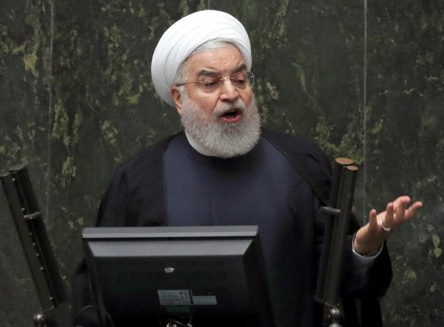 Iranian President Hassan Rouhani addresses Parliament in Tehran, Iran, Tuesday, saying if Europe doesn't buy Persian oil, Iran would further pull out of the 2015 nuclear accord. Photo by Abedin Taherkenareh/EPA-EFE