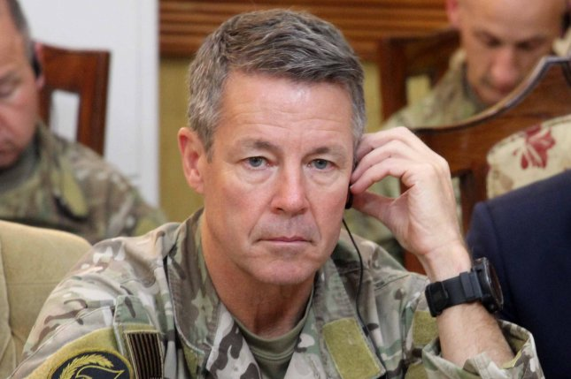 Gen. Austin Scott Miller, commander of U.S. forces in Afghanistan, is shown in Kandahar, Afghanistan, on October 18, 2018. Miller announced Sunday coalition troops have begun withdrawals from certain parts of the country. File photo by Muhammad Sadiq/EPA-EFE