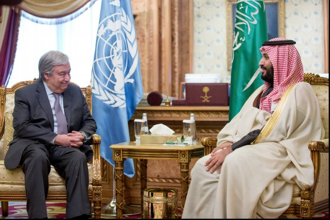 U.N. Secretary-General António Guterres (Lt) meets with Mohammed bin Salman bin Abdulaziz Al Saud in February. Photo courtesy of United Nations