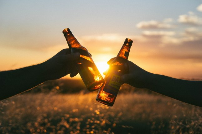 Friends clink drinks in a field. Photo by Free-Photos/Pixabay