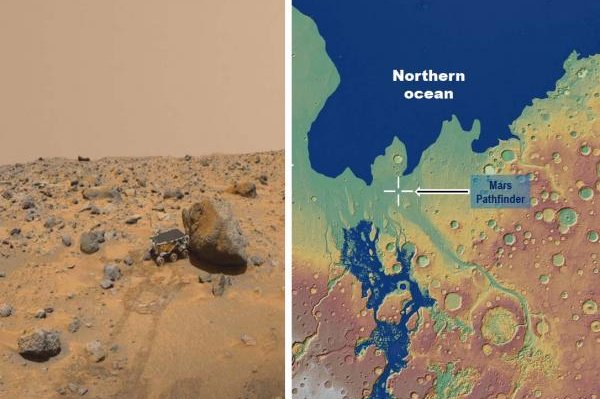 Scientists say that NASA's Sojourner rover, seen on the left from the Pathfinder lander, surveyed rocks that may have been eroded by catastrophic sea- and ocean-creating floods about 3.4 billion years ago. The map on the right is a paleographic reconstruction of the circum-Chryse region of Mars. Photo and illustration by NASA Jet Propulsion Laboratory and MOLA Science Team/MSS/JPL/NASA