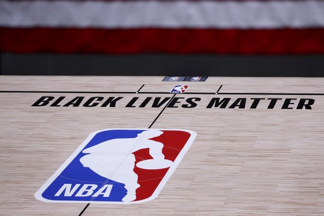 A court at the HP Field House in Orlando, Fla.,pictured on August 27, includes a show of support for the Black Lives Matter movement. File Photo by John G. Mabanglo/EPA-EFE
