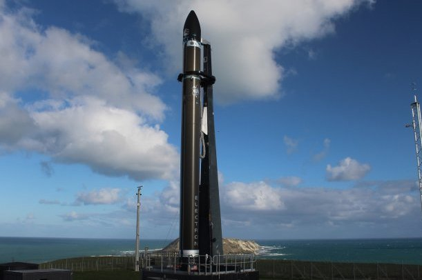 An Electron rocket is prepared for launch on Thursday morning in New Zealand, carrying satellites, including a solar wind experiment from Boston University. Photo courtesy of Rocket Lab