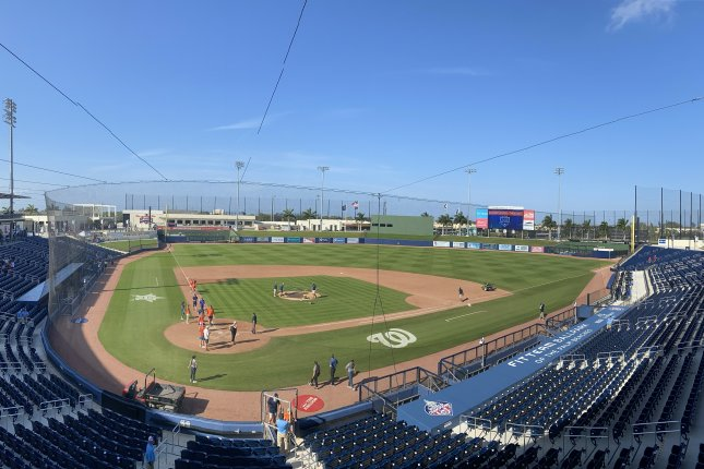 Ballpark of The Palm Beaches, shown March 4, 2020, is one of several minor league baseball parks that has sat empty since MLB and MiLB suspended its seasons in mid-March due to the coronavirus pandemic. File Photo by Alex Butler/UPI
