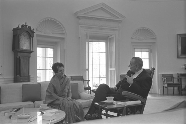 Indian Prime Minister Indira Gandhi meets with U.S. President Lyndon Johnson in the Oval Office of the White House on March 28, 1966. On January 19, Gandhi was elected prime minister of India. File Photo by Yoichi Robert Okamoto/White House