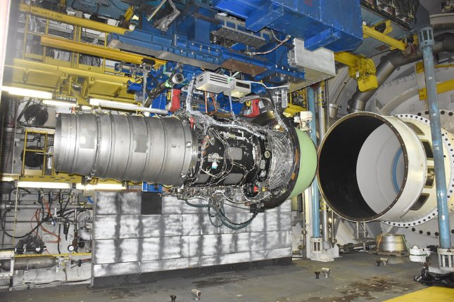A Rolls-Royce engine is set up in free-jet mode inside the AEDC C-2 test cell at Arnold Air Force Base in April. Transonic speeds with large volumetric flow rates were recently achieved during free-jet testing of this high-bypass engine, setting a record for free-jet mode engine testing. Photo courtesy of U.S. Air Force