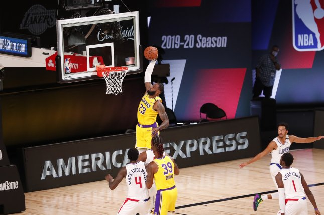 Los Angeles Lakers forward LeBron James (23) had 16 points, 11 rebounds and seven assists and pushed his team to a late victory against the Los Angeles Clippers Thursday in Orlando, Fla. Photo by Erik S. Lesser/EPA-EFE