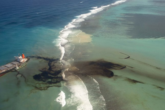 Environmental groups are condemning Japan's delayed response to an oil spill off the coast of Mauritius. Photo courtesy of the French General Staff Army/EPA-EFE