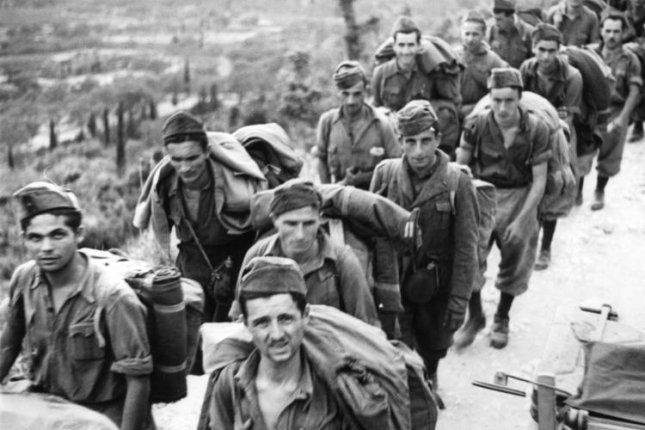 Italian soldiers are taken prisoner by Germany in Corfu, Greece, in September 1943. On October 13, 1943, conquered by the Allies, Italy declared war on Germany, its Axis former partner. File Photo courtesy of the German Federal Archives
