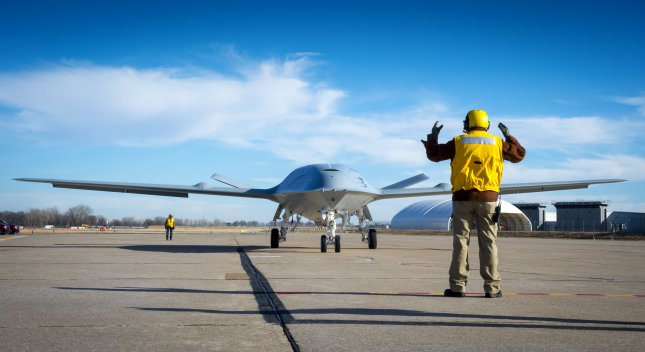 The MQ-25 is an unmanned combat aircraft system designed to provide refueling capability to extend the combat range of carrier air-wing assets such as the F/A-18 Super Hornet and F-35C Joint Strike Fighter. Photo courtesy of Boeing