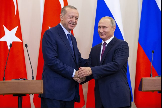 Turkish President Recep Tayyip Erdogan's growing alliance with Russian President Vladimir Putin is further straining relations with the United States. File Pool Photo by Alexander Zemlianichenko/EPA-EFE